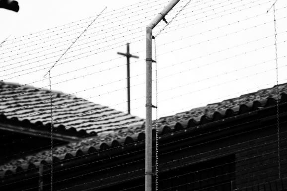 Barbed wire outside the Texas State Penitentiary at Huntsville, which houses the state's death chamber