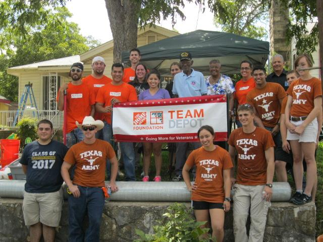 Several dozen volunteers turned up to overhaul Mr. Overton's house Thursday. It's the third of five homes to be fixed up for veterans in the Austin area.