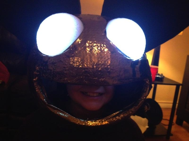 When her 10-year old son's hospitalization put a crunch on costume making, Laura Wilson-Swanson got a boost from Austin's Subreddit. Pictured, the deadmau5 mask in progress.