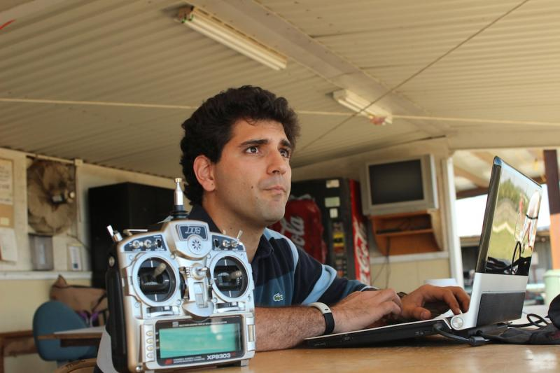 Miki Szmuk oversees the operations of the drone and rover in the field. At this point there is no human intervention between the engineered products.