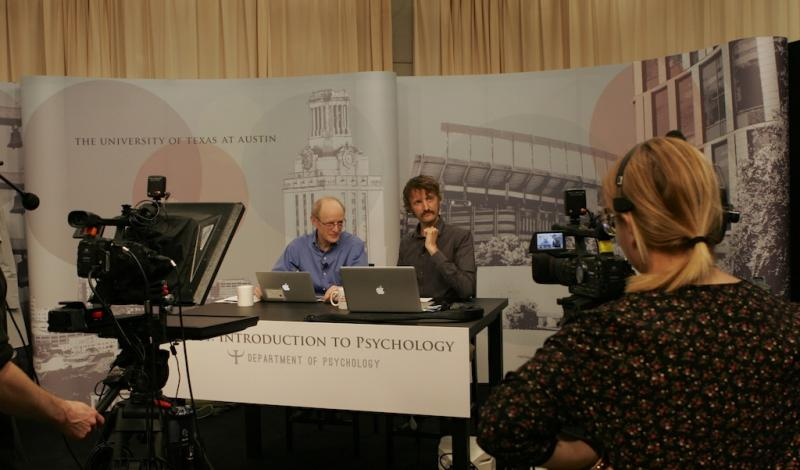 James Pennebaker and Sam Gosling prepare to stream their for-credit online course.