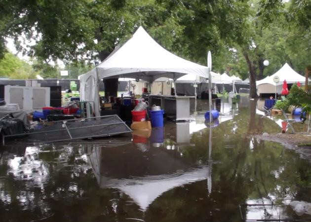 A VIP area at the Austin City Limits Music Festival, flooded after heavy rains this weekend.