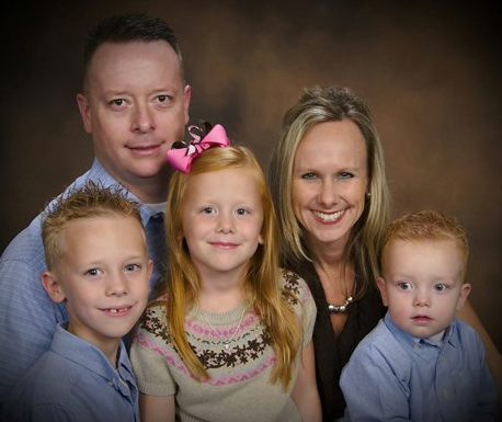 (left to right) Lt. Crabb with his son Harrison (9), his daughter Megan (7), his wife Anne and their youngest son Ronin (4).