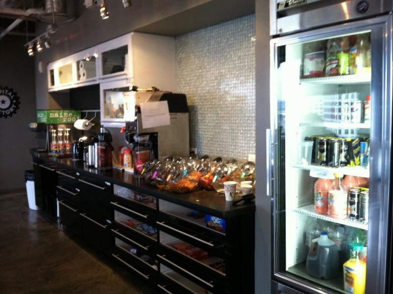 The fully-stocked kitchen at Capital Factory is one incentive for startups.
