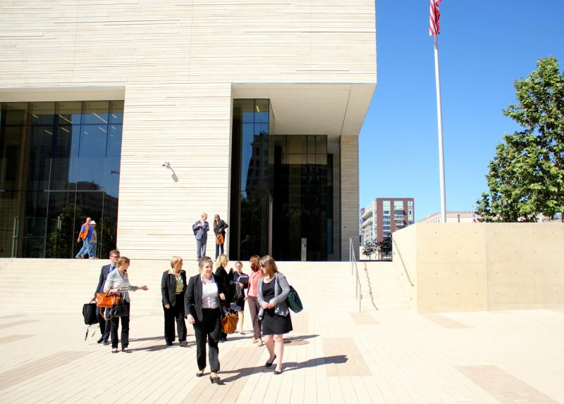 Plaintiffs, their attorneys and assistants exit the federal courthouse in Austin on Oct. 23, 2013, after the HB 2 injunction hearing ended.