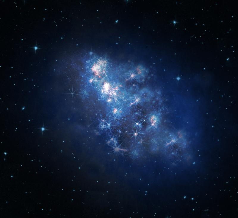 An artist's rendition of the newly discovered most distant galaxy z8_GND_5296.