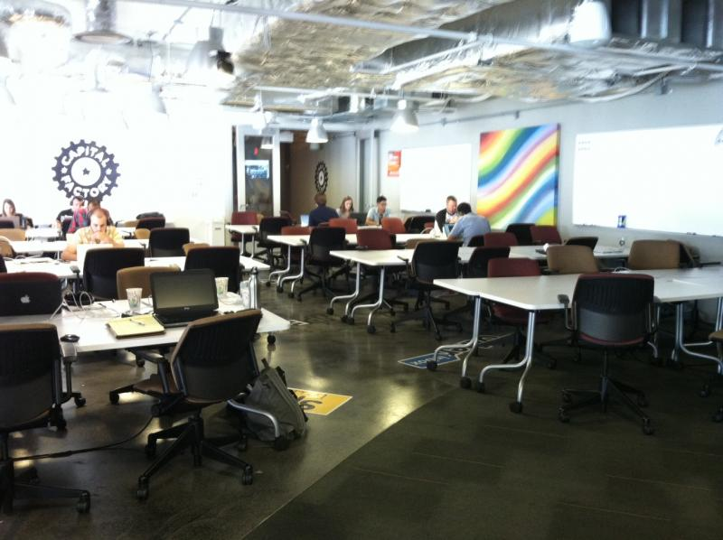 Shared work space at Capital Factory – where startups can rent space month-to-month.