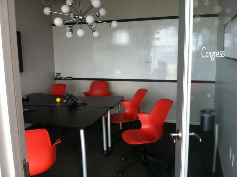 A private meeting room at Capital Factory provides a quieter place for startups to meet.