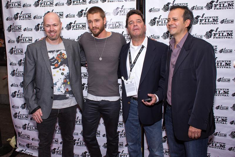 "(From left) ""Cavemen"" Writer/Director Herschel Faber, star Chad Michael Murray, Executive Producer John Michaels and Producer Joe Fogel."