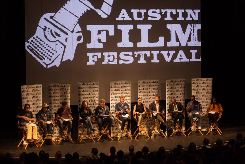 """Actors Will Ferrell (center) and Linda Cardellini (to Ferrell's left) were among those in Austin to read Vince Gilligan's """"2 FACE."""""""