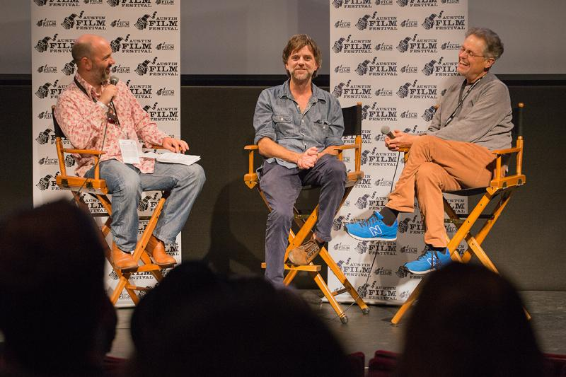 "Writer/Directors Paul Thomas Anderson (center) and Jonathan Demme (right) at a presentation of ""Greaser's Palace."""