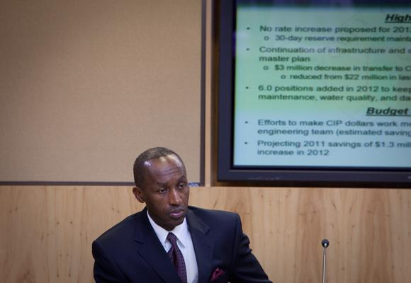 City Manager Marc Ott at a council work session in 2011. Ott is not a very visible figure in city politics – but that doesn't mean he's not influential.