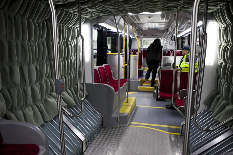 MetroRapid's 60 foot articulated buses hold up to 100 people at a time.