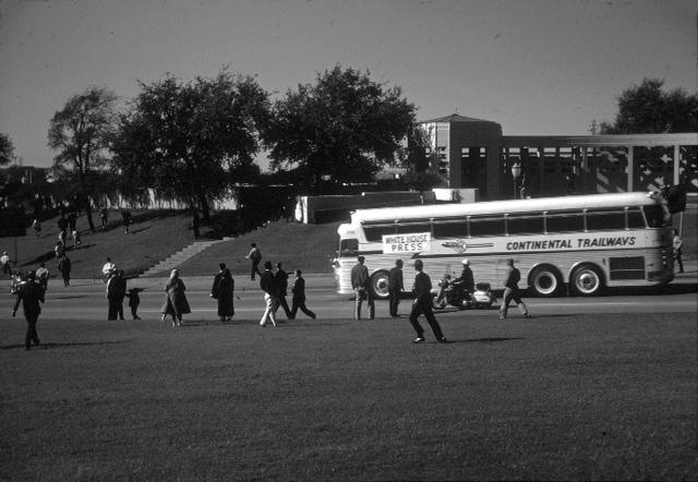 An image of the press bus leaving Dealey Plaza Nov. 22, 1963.