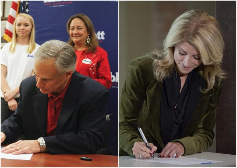 At separate events, Republican Texas Attorney General Greg Abbott and state Sen. Wendy Davis filed for governor in Austin on Saturday, Nov. 9, 2013.
