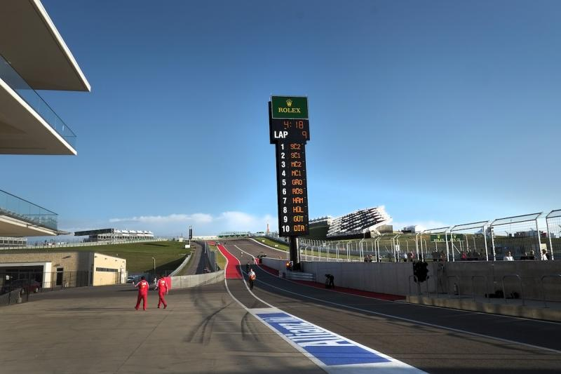 The view from pit lane of the first turn at COTA.