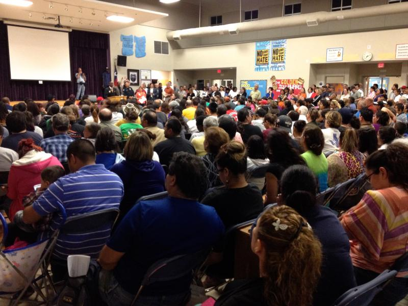 More than 500 people came to Perez Elementary School in Dove Springs to learn about flood recovery efforts on Nov. 5, 2013.