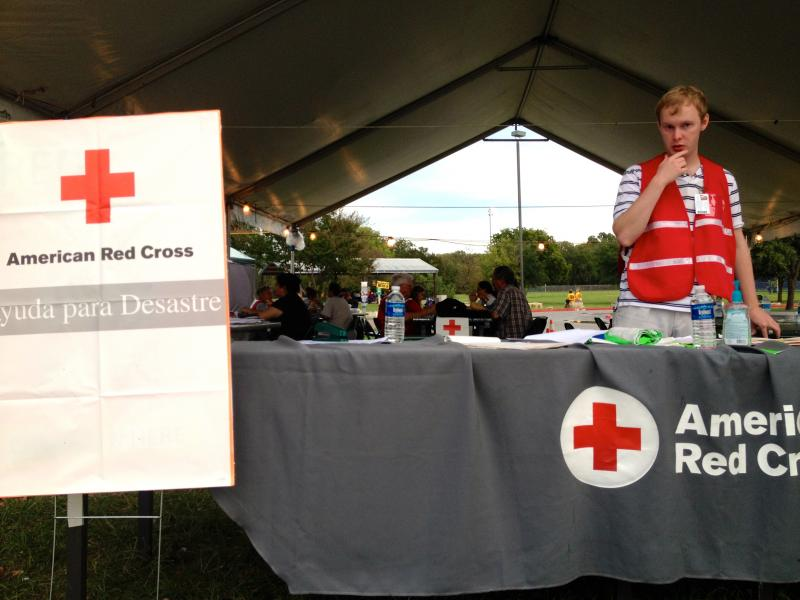 The American Red Cross is helping run a shelter at the Dove Springs Recreation Center for Austin residents affected by the city's recent flooding.