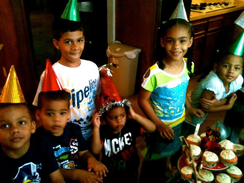 Michael, Jeremiah, Dominick, Jasmine, Aliana and Jermain Velez celebrate a birthday as a family at their home in Killeen.