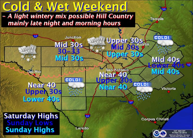 A winter weather advisory is in effect from noon Friday until noon Saturday for parts of the Hill Country.