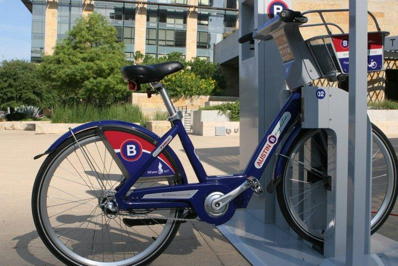 A B-Cycle kiosk, on display at City Hall over the summer. The program's initial 11 kiosks open this weekend.