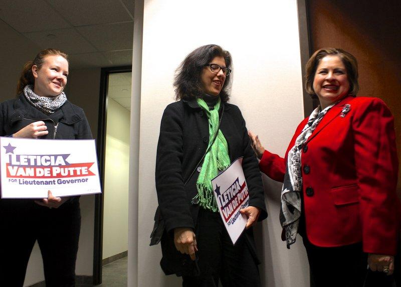 State Sen. Leticia Van de Putte greeted female supporters on Nov. 26, 2013 at the Texas Democratic Party headquarters in Austin.