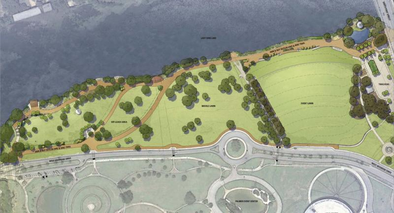 A rendering of upcoming changes to Auditorium Shores.