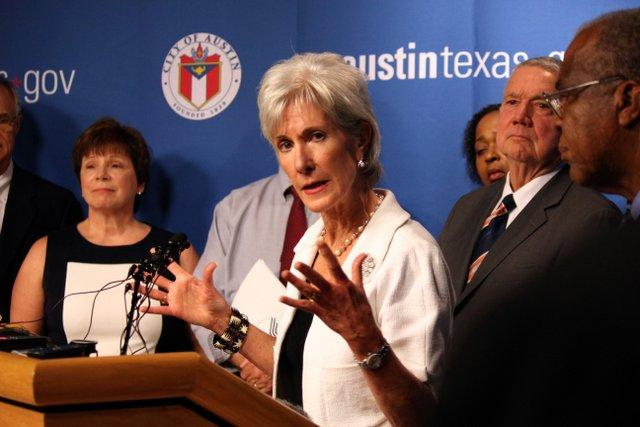 In February 2014, almost 90,000 people in Texas enrolled in a health care plan through the federal marketplace. Secretary Kathleen Sebelius (pictured) has visited Texas often to promote the Affordable Care Act.