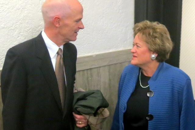 Travis County District Attorney Rosemary Lehmberg speaks with her lawyer, Dan Richards, after the verdict.