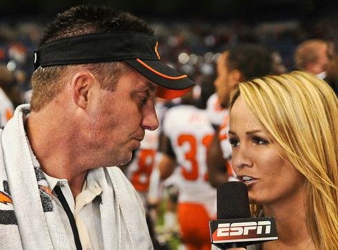 Oklahoma State coach Mike Gundy is considered by some to be a strong contender as Mack Brown's replacement.