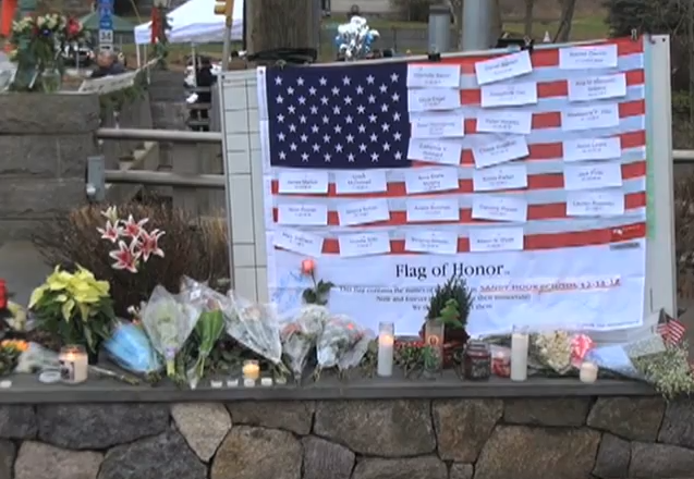 A makeshift memorial to the victims of the Sandy Hook mass shooting.