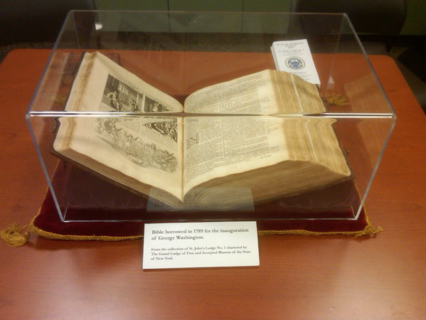Washington's Inauguration Bible on display