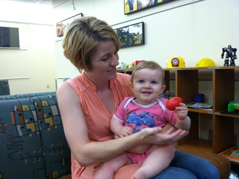 Andrea and Magdalene Robison partipate in a study at UT's Infant Music Lab.