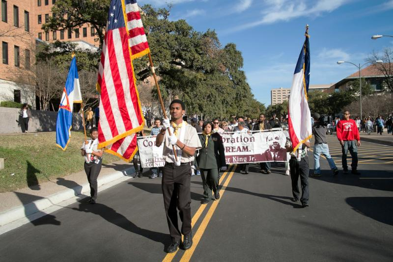 The parade from the MLK statue on UT-Austin's campus to Huston-Tillotson University