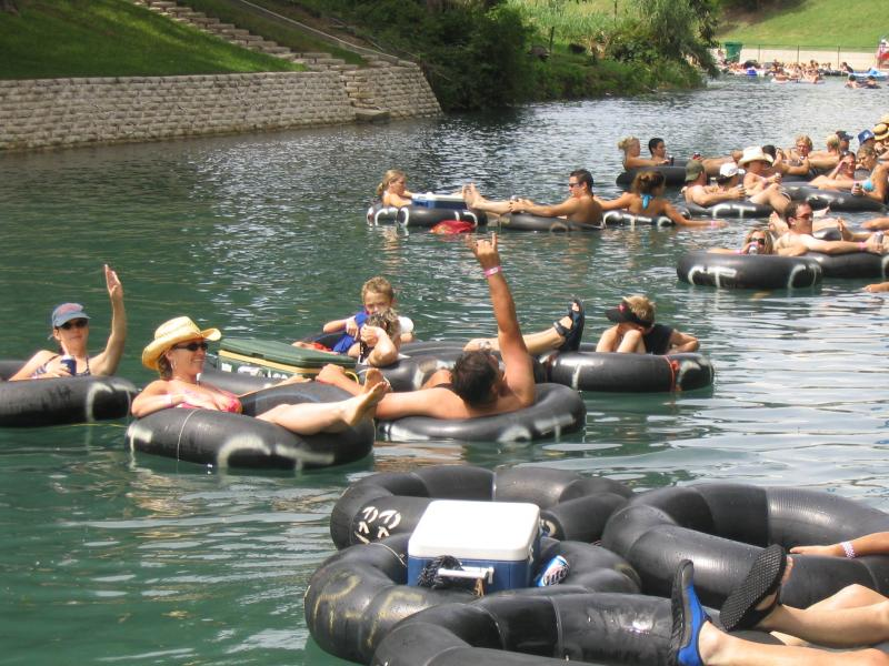 Tubers on the Comal River before a ban on disposible containers was enacted.
