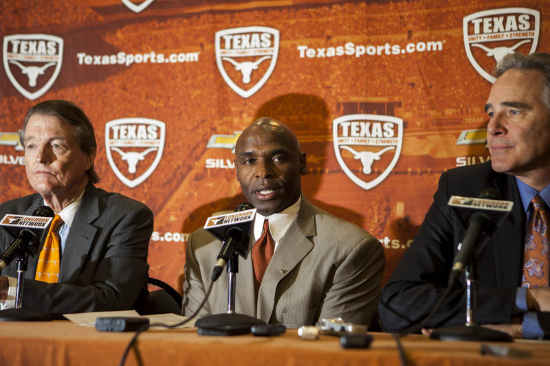 Charlie Strong at a press conference announcing his hire as the Longhorns' head football coach.