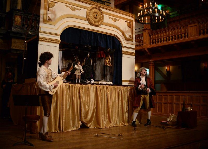 """The Hidden Room theatre company performs """"Der Berstraffe Brudermord"""" during the Blackfriars Conference at the Blackfriars Playhouse in Staunton, Virginia on Saturday, Oct. 26, 2013."""