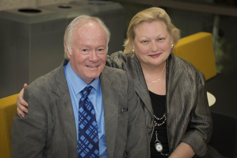 Valerie Phillips, KUT's Leadership Circle Manager, with her longtime partner Bob Mann in a November 3, 2012 photo.