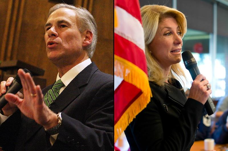 Gubernatorial candidate Greg Abbott speaks at a NE Tarrant Tea Party meeting at Concordia Lutheran Church in Bedford on Nov. 12. State Sen. Wendy Davis, who is also running for governor, speaks to veterans at Luby's in Forest Hill the day before.