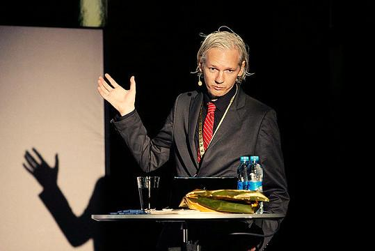 Assange speaking at a 2010 conference in Sweden.