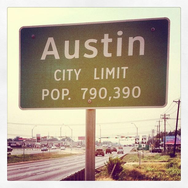 "The Austin city limits sign on Highway 71. Austin is one of nine cities profiled in ""One Square Mile: Texas,"" a new series from KLRU Austin PBS."