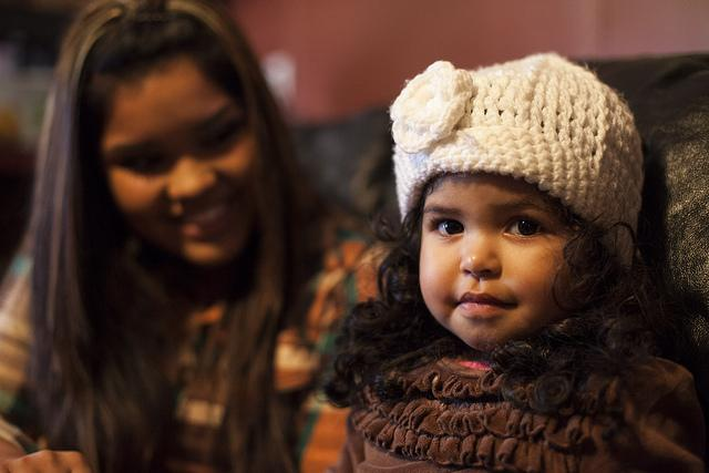Damaris Covarrubias with her daughter Dalilah, 2, at the home she shares with her family.