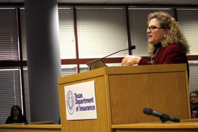 "State Rep. Donna Howard, D-Austin, spoke against proposed rules from the Texas Department of Insurance for so-called ""navigators"" at a public hearing on Jan. 6, 2014."