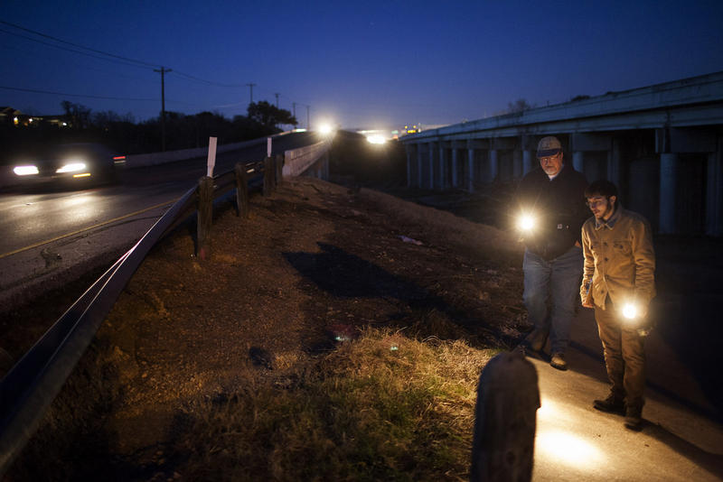 As night falls, Dr. Streeter's group searches near the county line in south Austin.