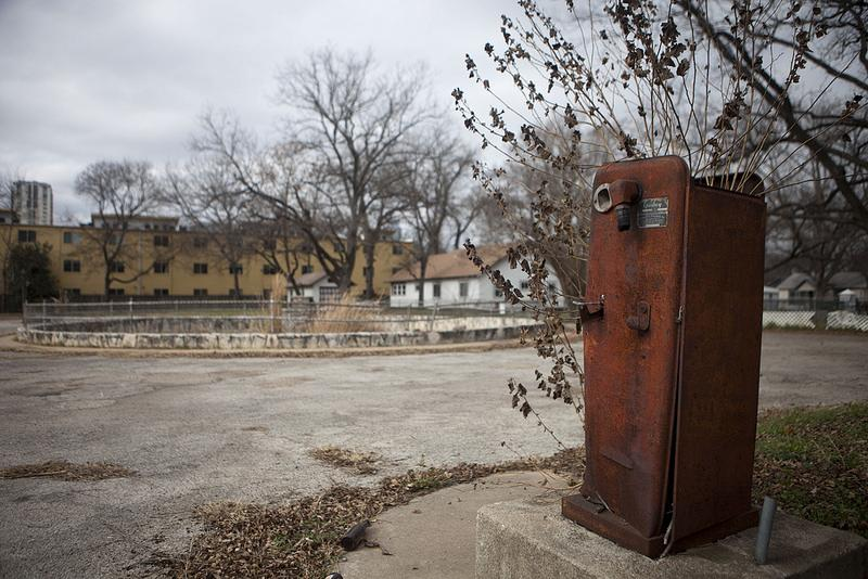 A gas pump in disrepair near the National Fish Hatchery on East Austin's Tejano Healthy Walking Trail.