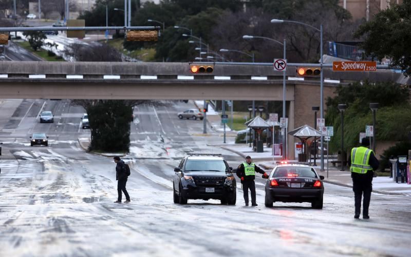 Austin Police closed a section of Dean Keeton Street to clear a minor accident related to the icy conditions. Police say there were over 250 accidents on the Austin roadways.