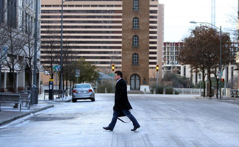 After a blast of cold air swept through Austin, few people were seen in downtown Austin.