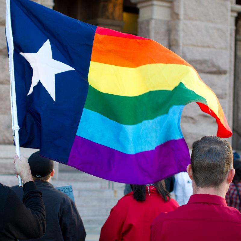 Same-sex marriage supporters rallied at the Texas Capitol as the Supreme Court began hearings on the Defense of Marriage Act in 2013. Today, a federal judge in San Antonio declared Texas' ban on same-sex marriage unconstitutional.