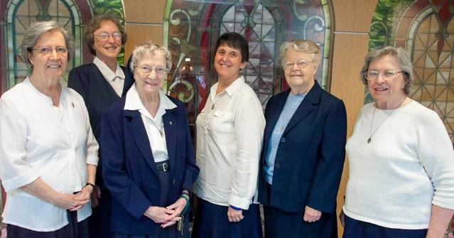 The Daughters of Charity are each heading out on new missions. Pictured are Sr. Sharon Groetsch, Sr. Jean Ann Wesselman, Sr. Gertrude Levy, Sr. Catherine Brown, Sr. Helen Brewer, and Sr. JT Dwyer.