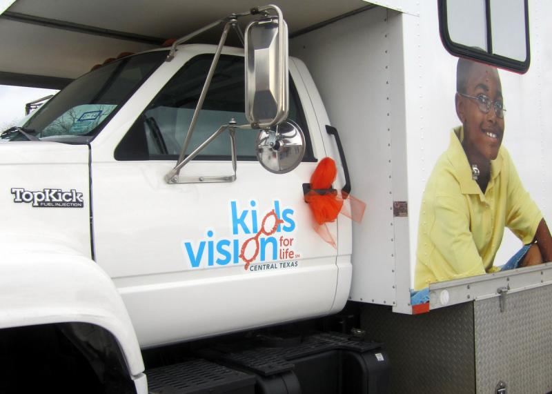 The mobile vision clinic at work.